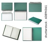 Green Notebook collection isolated on white background - stock photo