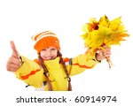Girl in autumn orange hat holding leaves thumb up.  Isolated. - stock photo