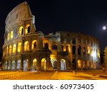 The Colosseum, the world famous landmark in Rome.  Night view .Panorama - stock photo