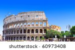 The Colosseum, the world famous landmark in Rome, Italy. Panorama - stock photo