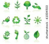 Illustration set of glossy green environmental icons - stock photo