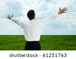 happy businessman in white shirt looking at the sky - stock photo