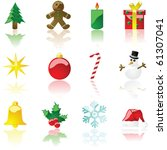 Vector set of glossy colored Christmas theme icons - stock vector