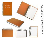 Orange note book collection on white background - stock photo