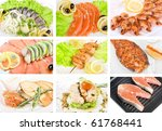 Set of different tasty fish dish - stock photo