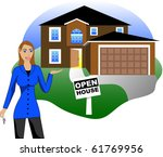 Raster version Illustration. A real estate agent with keys advertising an open house viewing. Version 4 of 6. - stock photo