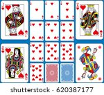 Playing cards hearts suite. Original figures double sized and inspired by french tradition.