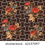 Seamless floral kimono pattern in warm night colors - stock vector