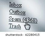 Spam, computer screen - stock photo