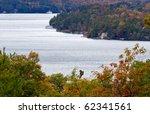 Lake Muskoka in autumn - aerial view - stock photo