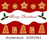 Christmas gingerbread cookies background - stock vector