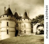 medieval Chaumont castle - sepia toned picture - stock photo