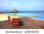 Relax chairs on the deck - stock photo