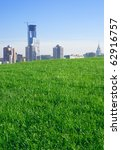 City. Construction of the skyscraper. Blue sky. Lawn. - stock photo