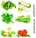 Collage (collection )of Cucumbers,tomato,marrow, parsley,lettuce on white background Isolated over white. - stock photo