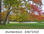 A rural Autumn scene with a long white picket fence in the background. - stock photo