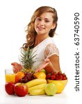 Young woman and fruits on the table isolated on white - stock photo