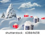 Christmas presents and pine - stock photo