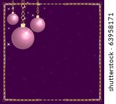 Raster version Illustration of a Christmas Pink Purple Ornaments. - stock photo