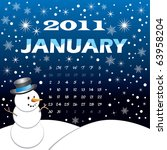 Raster version of Illustration of 2011 Calendar. Winter Scene, vector Illustration with starry night and snowflakes. - stock photo