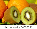 Kiwi and citrus fruits. - stock photo
