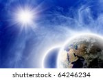 Fantastic backgrounf - two planets in blue space, bright sun, white clouds - stock photo
