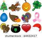 Raster version Illustration. Set of 12 Holiday Icons. - stock photo