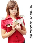 Young woman is the visualization of the money - stock photo