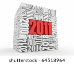 New year 2011. Cube consisting of the numbers. 3d - stock photo