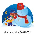 A little girl and a snowman with Christmas tree ball - stock photo