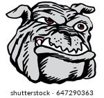 Mascot Bulldog head, proud and tough, which gives tribute to traditional school mascots but with a new look and attitude. Suitable for all sports. - stock vector