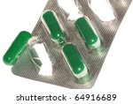 green capsule pill isolated on white - stock photo