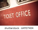 vintage ticket office sign - stock photo