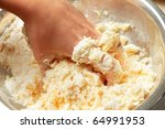 Kneading the dough with hands - stock photo