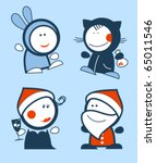 Set of new years funny people icons. - stock vector