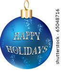 Raster version Illustration of blue gold happy holidays ornament isolated. - stock photo