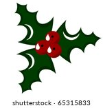 Holly berry - symbol of Christmas. Vector illustration - stock vector