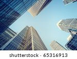 Toned picture of Canary Wharf, financial district in London. - stock photo