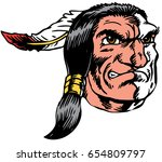 Mascot Native American Indian Head, proud and tough, which gives tribute to traditional school mascots but with a new look and attitude. Suitable for all sports. - stock vector