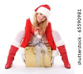 Christmas santa girl with gift isolated on white. Copy text. Christmas greetings card - stock photo