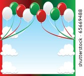 Vector Illustration of 10 balloons with red and green background and a place for text or imagery. - stock vector