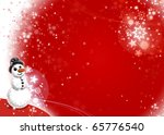 Snowman Xmas Red Card - stock photo