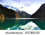 Forest and Lake in Jiuzhaigou, Sichuan province of China - stock photo