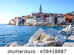 old town and harbor of rovinj in croatia - stock photo