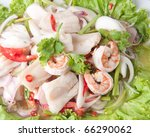 Seafood Salad with Thai food Style, Very delicious with Thai salad seafood. - stock photo