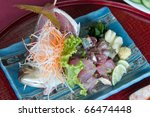 Japan food. Fresh japanese fish from the sea.material,raw,delicious,lemon, - stock photo