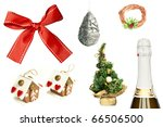Collection of Christmas and New Year items isolated on white background - stock photo