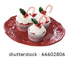 Christmas decorated red velvet cupcakes - stock photo
