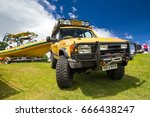 TAIN, SCOTLAND - JUNE 18 2017: Camel Trophy Land Rover Discovery at a Vintage Rally. - stock photo