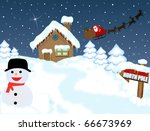 Santa's house at North Pole with snowman and his sleigh ,vector illustration - stock vector